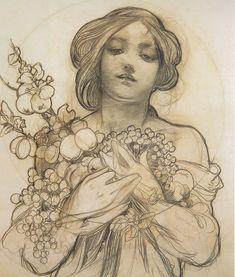 a sketch by Alphonse Mucha (Art Nouveau artist) Art Nouveau Mucha, Alphonse Mucha Art, Figure Drawing, Painting & Drawing, Art Du Temps, Art Vintage, Pierre Auguste Renoir, Art Plastique, New Art