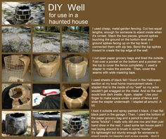 "DIY scary well, for use in a haunted house / garage / yard ( inspired by the movie ""The Ring"") made with things you've already got laying around the house. Garden fencing, paper bags, tape, stapler, spray paint."