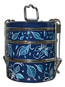 Handpainted Blue Flower 3 Tier Tiffin