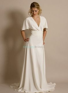 This vintage inspired wedding dress features deep plunging v-neck and butterfly sleeves. Flowing chiffon creatsGrecian goddess style. Free made-to-measurement service for any size. Available colors seen as in Color Options.