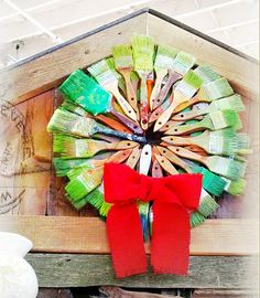 Dishfunctional Designs: Upcycled Christmas Wreaths That You Can Make I'm gonna do it at Easter with a yellow bow since you paint eggs. & spring paints new colors.