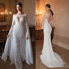 free shipping, $163.22/piece:buy wholesale mermaid lace wedding gowns 2015 with detachable cape and sheer long sleeves sexy low v neck and tulle back with covered buttons 2015 spring summer,reference images,chiffon on lovely518's Store from DHgate.com, get worldwide delivery and buyer protection service.