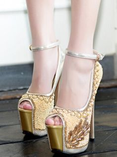 New Arrival Rhinestone Buckle High Heels