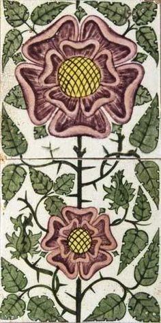 1065: William de Morgan (1839-1917)A two tile panel : Lot 1065