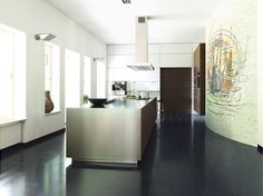 Linear aluminium fitted kitchen without handles B3 | Aluminium kitchen - Bulthaup