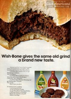 Ground beef never had it so good - add some salad dressing & bread crumbs, and your hamburgers will be juicier, and bursting with flavor. Retro Recipes, Old Recipes, Vintage Recipes, Snack Recipes, Vintage Food, Vintage Ads, Budget Recipes, Retro Ads, Meat Recipes