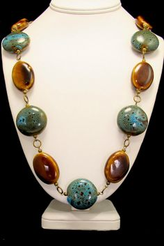 Chunky Blue and Brown Porcelaine Bead Necklace by byBrendaElaine, $36.00
