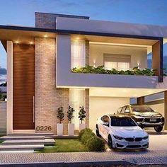 Arquitetura linda do dia ? Duplex House Design, House Front Design, Small House Design, Dream Home Design, Home Design Plans, Modern House Design, Minimalist House Design, Minimalist Home, Villa Design