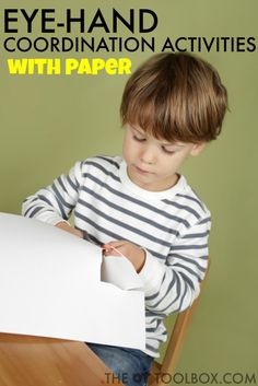 Help kids work on eye-hand coordination skills needed for functional tasks like handwriting using these easy and fun paper activities.