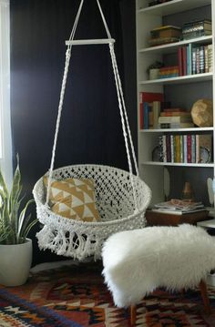 DIY Seating Ideas - DIY Hanging Macrame Chair - Creative Indoor Furniture, Chairs and Easy Seat Projects for Living Room, Bedroom, Dorm and Kids Room. Cheap Projects for those On A Budget. Tutorials for Cushions, No Sew Covers and Benches http://diyjoy.com/diy-seating-chairs-ideas