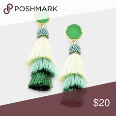 """New • Druzy Layered Triple Tassel Earrings New • Druzy Layered Triple Tassel Earrings  • Size : 0.5"""" X 2.5"""" • Post Back • Material : Lead and nickel compliant  ❌ NO offers accepted for items $10 and under. ❌ NO trades ❌ NO try-ons  ✅ YES Bundles ✅ Yes Offers on items above $10 AND bundles! undefined Jewelry Earrings"""
