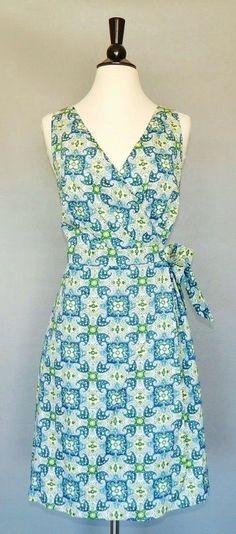TOMMY HILFIGER Green Blue White Paisley Cotton Wrap Style Summer Sun Dress XL #TommyHilfiger #WrapDress #Casual