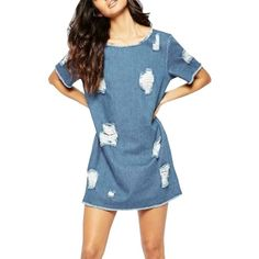 Women's Fashion Short Sleeve Distressed Denim Shift Dress ($21) ❤ liked on Polyvore featuring dresses, blue, round neck dress, blue shift dress, ripped dress, shift dresses and blue embellished dress