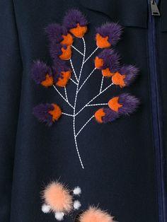Fendi fur floral appliqué coat