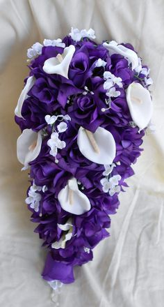 Cascade Bride bouquet royal purple and by VictoriaSilkDesigns