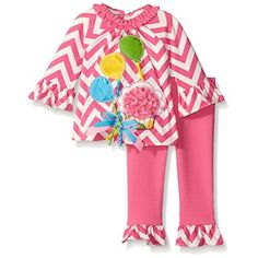 Rare Editions Little Girls' Peri Heathered Top W Butterfly Applique Legging Set, Periwinkle, 4