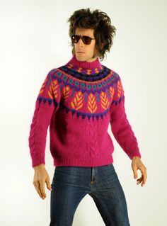 80s hot pink fair isle sweater 1980 leaf by CarnivalOfTheManiac....not something I would ever knit, but the hairdo is hilarious :)