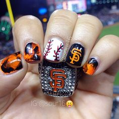 """I never get tired of doing these nails #sfgiants #worldchamps #ringceremony #sfgiantsnails #baseball #baseballnails #springnails #wsring #opi #putacoaton #colorclubwhampow #whampow #colorclubmamba #blackonyx #freehand #nailart #freehandart #nails #nailideas #nubart #giantsnails #giants #worldserieschamps #marblenails #sandwichbagnails #plasticbagnails #plasticbagnailart"" Photo taken by @sour16 on Instagram, pinned via the InstaPin iOS App! http://www.instapinapp.com (04/18/2015)"