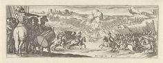 Simon Frisius | Cavalerist spreekt soldaten toe, Simon Frisius, 1595 - 1628 | Links spreekt een cavalerist een groep soldaten toe. Bij hen staat een soldaat met een trommel. Ze kijken naar een veldslag.