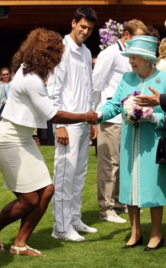 Serena Williams & Queen Elizabeth II from Stars Meeting Royals  The Grand Slam champion wears her Wimbledon whites to meet the Queen at the All England Lawn Tennis and Croquet Club.