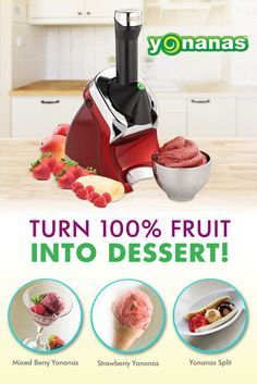 """Healthy """"ice cream""""?! It's possible with Yonanas! This kitchen gadget turns frozen fruit into a treat that looks, tastes & feels like soft-serve in seconds."""