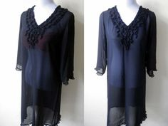 Summer Sale: sheer black ruffled tunic dress or swimsuit cover up (free size) by VintageHomage