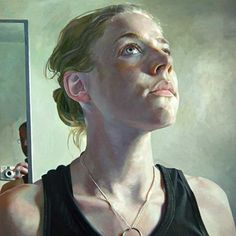 """The Necklace"" - Stephen Wright, oil on canvas; Los Angeles, CA {contemporary figurative art female head bathroom woman face portrait cropped painting #loveart} stephenwrightart.com"