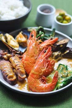 Seafood Kare Kare (Philippine Seafood, Peanut and Coconut Stew Inspired by Bale Dutung) Seafood Dishes, Fish And Seafood, Seafood Recipes, Cooking Recipes, Seafood Soup, Fish Recipes, Filipino Recipes, Asian Recipes, Filipino Food