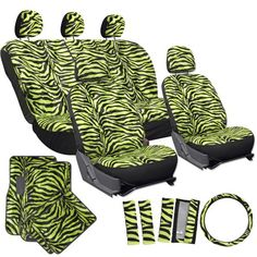 OxGord 21pc Set of Zebra Print Car Seat Covers w/Deluxe Velour Animal Carpet Floor Mats, Steering Wheel Cover & Shoulder Pads - Airbag Compatible - Front Low Back Buckets - 50/50 or 60/40 Rear Split Bench - Universal Fit for Cars, Truck, SUV, or Van, Lime Green - https://www.caraccessoriesonlinemarket.com/oxgord-21pc-set-of-zebra-print-car-seat-covers-wdeluxe-velour-animal-carpet-floor-mats-steering-wheel-cover-shoulder-pads-airbag-compatible-front-low-back-buckets-5050-o
