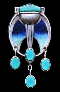 PATRIZ HUBER 1878-1902 for THEODOR FAHRNER  Jugendstil Brooch   Silver Enamel Turquoise  Marks: 'TF' '950' 'MBC' monogram 'PH' monogram & 'REG.D'  German, c.1900 | JV