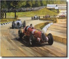 Michael Turner-1936 Italian Grand Prix - Tazio Nuvolari scores upset victory over the German Mercedes and Auto Union Teams.