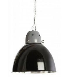 Housedoctor Hanglamp fabriek zwart metaal Ø32xh30cm - wonenmetlef.nl