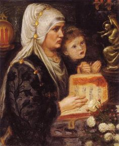 The Two Mothers - Rossetti Dante Gabriel Date: 1849-1851 Style: Romanticism Genre: genre painting Media: oil, canvas Location: Sudley Art Gallery