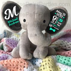 e7174c461d4 PERSONALIZED BABY BIRTH STATS STUFFED ELEPHANT  25.00 This adorable light gray  elephant with dark gray ears