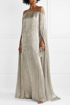 Oscar de la Renta Cape-effect Fringed Embellished Tulle And Silk-blend Lamé Gown - Silver , Beautiful Dresses, Nice Dresses, Casual Dresses, Cotton Long Dress, Cotton Dresses, Dress Outfits, Fashion Dresses, Tulle, Moroccan Dress