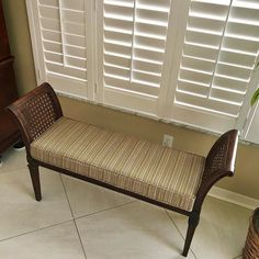 Vintage bench seat that needed an upholstered seat cushion. #upholstery #reupholstery #interiors #interiordesign #bgwindowfashions #drapery #draperies