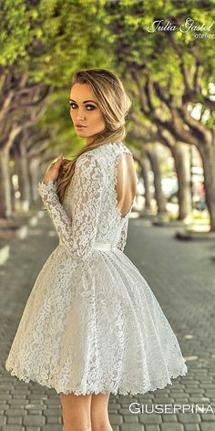18 Amazing Short Wedding Dresses For Petite Brides ❤ See more: http://www.weddingforward.com/short-wedding-dresses/ #wedding #dresses #short