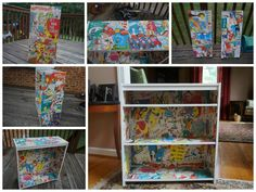 Dr. Suess bookshelf I made with Modge Podge and a bunch of old Dr. Suess books