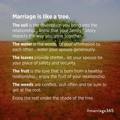 Marriage quotes and marriage wisdom #marriage365 Marriage is like a tree.  Enjoy marriage.  www.marriage365.org