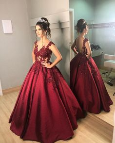 Charming V neck Burgundy Ball Gown Prom Dress, Women Prom Dresses, Formal Evening Dress Charming V neck Burgundy Ball Gown Pro. Quince Dresses, 15 Dresses, Pretty Dresses, Beautiful Dresses, Formal Evening Dresses, Evening Gowns, Ball Gowns Prom, Look Chic, Dream Dress