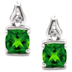 Simple Cushion Cut Emerald Birthstone Diamond Sterling Silver Earrings Jewelry Available Exclusively at Gemologica.com