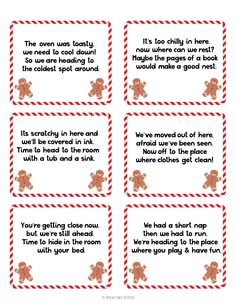 Create a little Christmas magic with a gingerbread man scavenger hunt! Includes instructions, 8 printable clues, plus 4 blank cards to create your own. Christmas Scavenger Hunt, Scavenger Hunt Birthday, Christmas Party Games, Christmas Crafts For Kids, Christmas Activities, Little Christmas, Christmas Traditions, Holiday Fun, Christmas Holidays