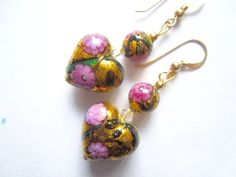 Pink and gold Murano glass earrings with gold filled hooks. £40.00