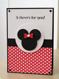Luv To Stamp: Minnie Mouse Card!- for Esther Minnie Y Mickey Mouse, Theme Mickey, Girl Birthday Cards, Bday Cards, Disney Scrapbook, Scrapbook Cards, Punch Art Cards, Disney Cards, Cricut Cards