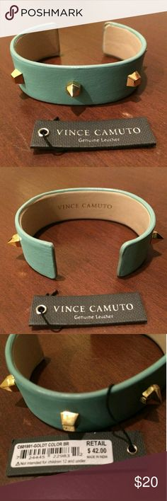 Vince Camuto Leather Cuff /Gorgeous! VINCE CAMUTO TEAL GREEN LEATHER CUFF GOLD TONE STUD PYRAMID SPIKES BRACELET WITH A LITTLE FLEX FOR ADJUSTMENT , NEW WITH TAG MSRP $42.00 NO TRADES OR TRY ONS Vince Camuto Jewelry Bracelets