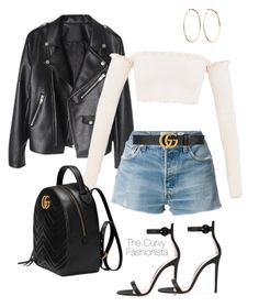 """""""Untitled #1009"""" by thecurvyfashionistaa ❤ liked on Polyvore featuring RE/DONE, Gucci and Jennifer Fisher Cute Edgy Outfits, Bad Girl Outfits, Boujee Outfits, Casual School Outfits, Teen Fashion Outfits, Retro Outfits, Polyvore Outfits, Denim Fashion, Fall Outfits"""