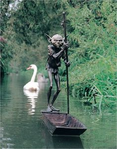 """Ferryman"" bronze sculpture by David Goode www.david-goode.com, i would love to have this in a pond in my back yard."