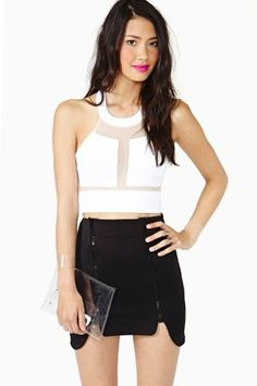 FREE SHIP $38 NASTYGAL SHAPE SHIFT CROP TOP WHITE MESHED