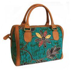 Batik & Leather Bag - Executive Bag - Teal Laukku