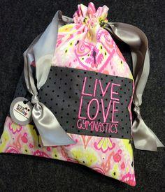 Item(L4) Personalized Gymnastics Grip Bag Live Love Gymnastics Pink Aztec